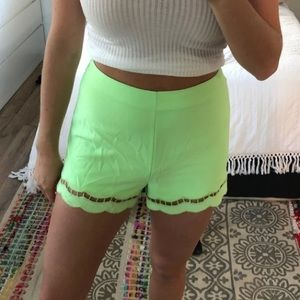 Lime green shorts!